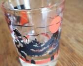 Black Cats Fighting GOOD LUCK  shot glass