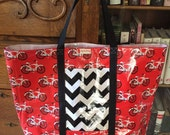Bicycletta Laminated Big White and Black and Red All Over Tote Bag