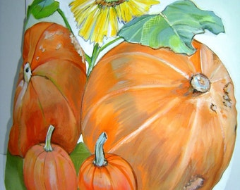 Pumpkins & A Sunflower 14x14 Pillow Hand Painted Fall Harvest Pillow Accent Delightful Colorful Charming Cottage Decor ART
