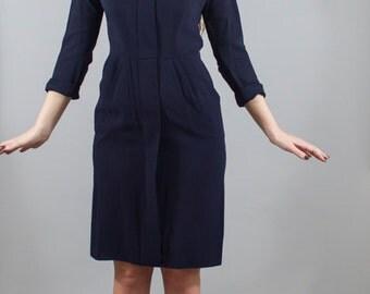 Vintage 1940s 40s Rayon Navy Blue Boat Neck Wiggle Sailor Dress