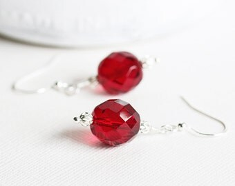 Red Dangle Earrings - Simple Red Earrings with Silver Plated Hooks, Large Bead Earrings, Faceted Glass Earrings, Holiday Fashion Jewelry