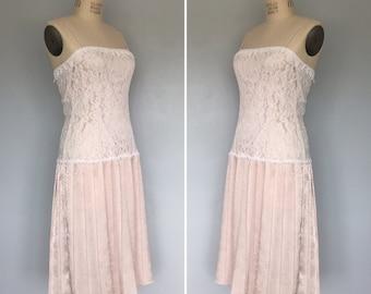 Vintage Pink and White Lace Dress • Scott McClinktock Dropwaist Party Dress