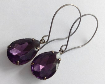 Deep Purple Jewels Set Stone Faceted Glass Pear Teardrop Oxidized Sterling Silver Earrings