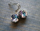 Swarovski earrings, Light Vitrail, Crystal Jewelry, Prismatic Glacier Rhinestone