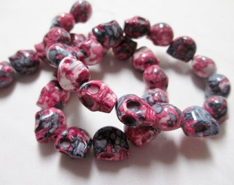 SKULL BEADS - 33 Skulls Ceramic Bead Magenta Pink Purple Marbled Tribal Goth Gothic Halloween 10mm x 12mm