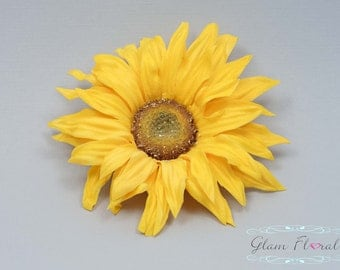 Yellow Sunflower Hair Clip / Fascinator/ Hair Comb, Real Touch Flower Fascinator
