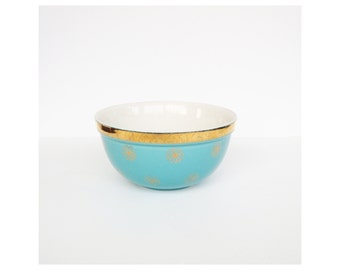 Mid Century Hall's Blue and Gold Mixing Bowl