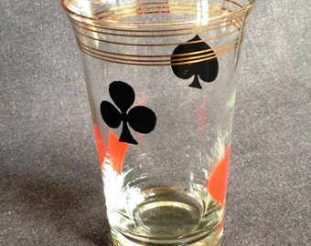 Antique glass for cards players. Guys fun Christmas gift idea.