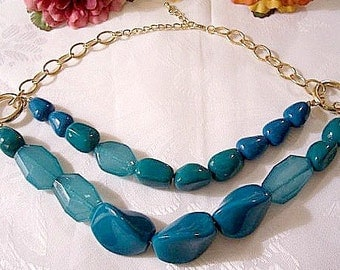 Blue Green Turquoise Necklace Gold Tone Vintage Extra Large Graduated Lucite Rock Double Row Beads Size Adjustable Oval Link Chain