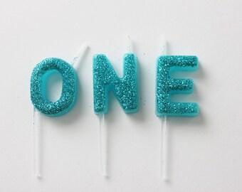Sale CUSTOM AQUA BLUE mini Candle Glitter Name Birthday Cake Candle Turquoise Photo Prop Cake Smash 1st 2nd 3rd 4th Personalized Cake Topper