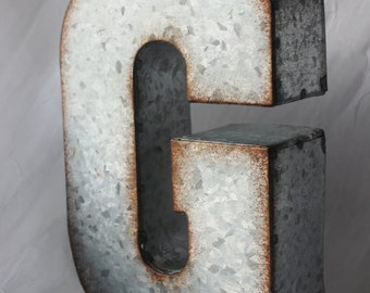 5 LARGE METAL LETTER Zinc Steel Initial Home Room Decor Diy Signs Letter Vintage Style Gray Silver Rusted Monogram Alphabet Rustic Wedding