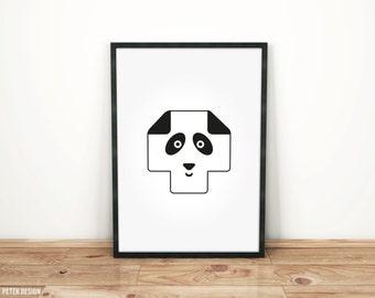 Swiss Cross Minimalist Nursery Poster / Black and White Kids Poster / Panda Bear Wall Art / Plus Sign Poster / Nordic Print