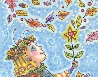 Autumn Ladybug Ladybird Fairy wand Art ACEO Susan Brack Ebsq