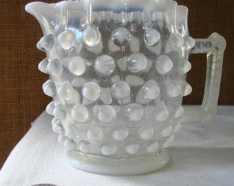 Vintage ELSON DEWDROP HOBNAIL Milk Large Creamer Pitcher  Big Hobnail Crimped Edge Milk Pitcher Early America Art Glass Pitcher