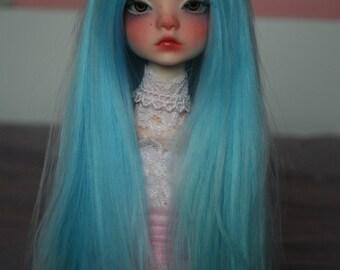 6-7 7-8 long pastel blue alpaca bjd wig MSD wig doll chateau bella minifee wig