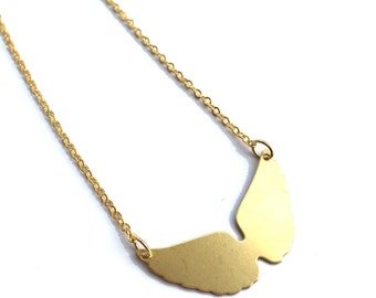 Angel Wings Necklace, Dainty Wing Shaped Geometric Pendant, gift for her, Minimal Bridesmaids, Initial Custom Personalized