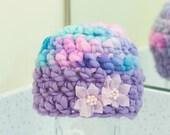 Newborn Girl Flower Handspun Merino Thick Thin Beanie Purple Hat Ready to Ship