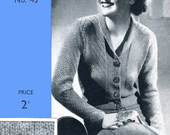 "Great 1930s Ladies ZigZag Cardigan and Waistcoat 36"" to 38"" Bust Weldons 45 Vintage Knitting Pattern PDF Download"