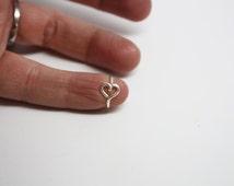 Heart on Hoop Cartilage Earring - Ear Heart Jewelry, Daith, Rook, Tragus, Snug, Helix, Forward Helix