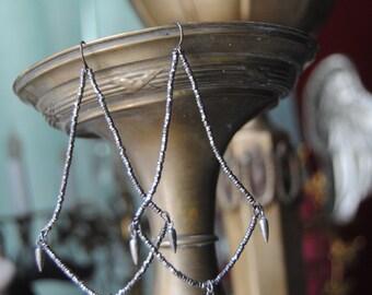 Cut Steel Chandeliers--Antique Beaded Cut Steel Chandelier Shape Sterling Hoop Tassel EARRINGS