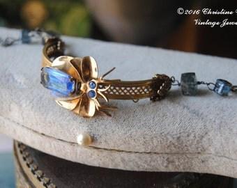 Bug Bangle--Vintage Bug Brooch Kyanite Gemstone Brass BRACELET
