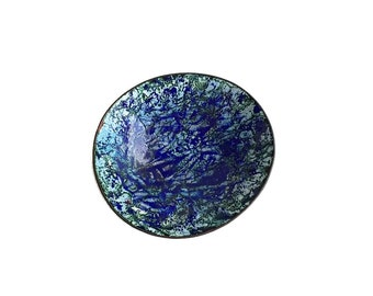 Cobalt Blue & Green Enameled Copper Pin Dish Enameled Ring Dish Trinket Dish Signed Dated 60s Mid Century Decor