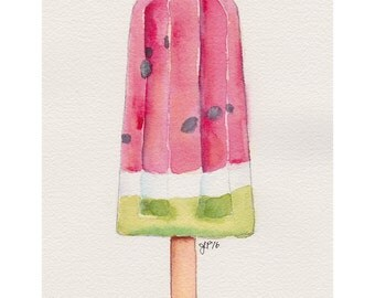 Popsicle Art - Watermelon Popsicle Still Life Watercolor Painting - Pop Art - Pink and Green Original Watercolor Painting, 5x7