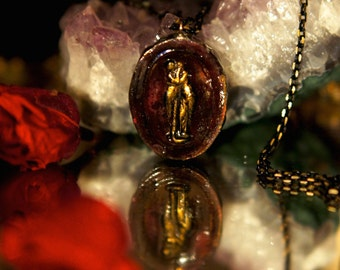 1600s! Grand Tour Intaglio Cameo Necklace by Fae Factory Artist Dr Franky Dolan {Handmade Steampunk Jewelry Antique Necklace Plaster Solder}