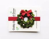 Holiday Hair Bows, Christmas Wreath Headband, giddyupandgrow