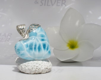 Larimarandsilver pendant, The Waterfall Fairy - water blue Larimar heart, crystal heart, turtleback, aqua heart, handcrafted Larimar pendant