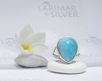 Larimarandsilver ring size 7.75, Turquoise Beauty - azure Larimar pear, turquoise ring, blue drop ring, sky blue ring, handmade Larimar ring