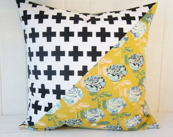 Patchwork Pillow Cover, 20x20, green floral vs. Black crosses