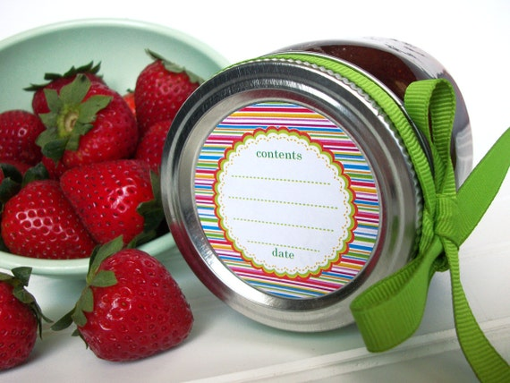 Candy Stripes canning labels, round jam jar labels for fruit and vegetable preservation, jelly jar labels, striped canning jar labels