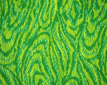 One YARD, Wool Damask, Bright Green Woven Swirls,, 1970s Vintage, Home Decor, Upholstery, Craft Fabric, Heavy Weight, B10