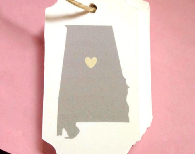 State Tag wedding favor, set of 25, 3 x 1.5 inches, Alabama State Pride, Home State, Home state pride, custom state, custom colors, custom