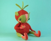 Mila Mansikka - Art Doll - OOAK handmade hand sewn soft sculpture - strawberry nymph fruit berry creature red green leaf mittens booties