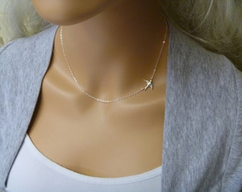 Graduation Gift - Sideways Bird Necklace - Teeny Tiny Bird Necklace - Swallow Silver Bird - Bridesmaids Gift - Mother Jewelry - Sisters