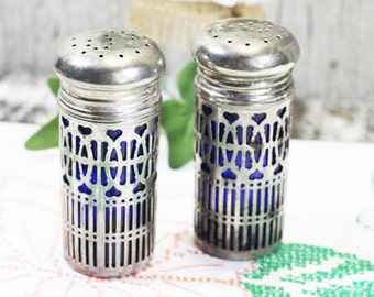 Salt and Pepper Shakers, Vintage, Godinger Art Co. Silver Plated and Blue Glass