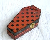 Small Coffin Box Halloween Ring Box Orange Black Polka Dot Gift Box Trinket Box Goth Gothic Decoupaged Crystal Decorated