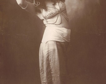 Turkish Belly Dancer Eminé. Italian RPPC by Signor Loreti of Rome, circa 1910
