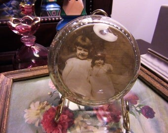 Antique Lead Glass Paper Weight Antique 1900s Photo Little Girl with Doll