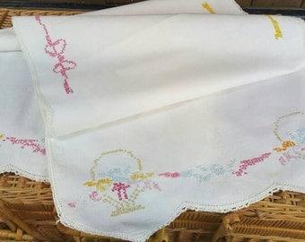 Vintage Linen Dresser Scarf or Table Runner, White Linen, Crocheted Edge, Colorful Flower Baskets in Cross Stitch