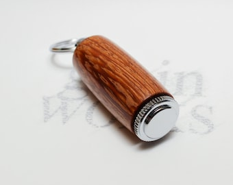 Wood Deluxe Pill Holder Key Chain - Pheasantwood with Chrome Accents (Gift Ready)