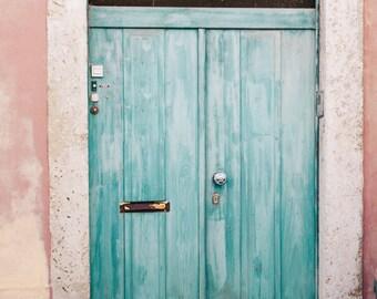 Turquoise Door Photo, Architecture Photograph,Travel Photos,Door Print,Europe Photos,Pink Wall,Lisbon Print, Lisbon Decor, Lisbon Wall Decor