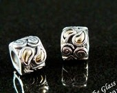 18k and Sterling Silver Spacer Bead Pair Fits Trollbeads ONLY
