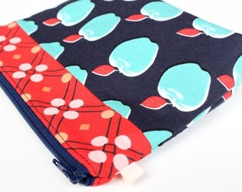 Apple Makeup Pouch - Navy, Aqua and Red Padded Zip Bag -Cosmetic Bag -Purse Organizer -Teacher Christmas Gift - Friend Gift Stocking Stuffer