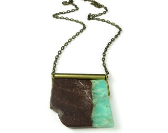Chrysoprase Slider Necklace | Raw Organic Statement | Stone Slice