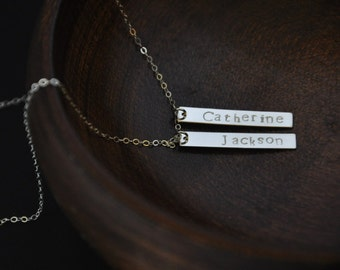 Sterling Silver Vertical Bar Necklace/ Silver Nameplate Necklace/ Name Bar Necklace/ Vertical Nameplate Necklace/Hand Stamped Bar