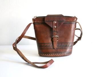 Morrocan Tooled Leather Bucket Satchel