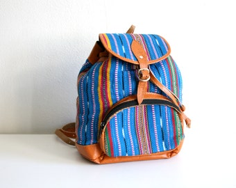 Blue Woven Textile Mini Backpack